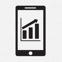 ícone de infográficos de gráfico de telefone móvel vetor