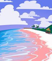 Paisagem do mar da praia tropical com areia cor-de-rosa, água azul e palmas. Cartaz de vetor vintage