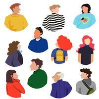Colecção de pessoas nas costas de um estilo moderno ousado vetor