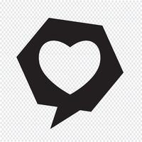 Ícone de bolha do discurso de coração vetor