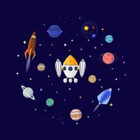Fundo do espaço do sci fi dos desenhos animados. Ilustração vetorial