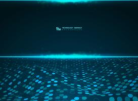 Fundo futurista azul do teste padrão do círculo da tecnologia abstrata do sistema de dados grande do poder. ilustração vetorial eps10