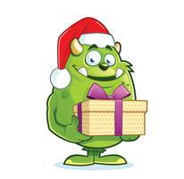 Monstro bonito com chapéu de Papai Noel segurando a caixa de presente