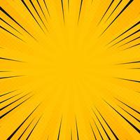 A cor abstrata do amarelo do sol no radiance irradia o teste padrão com fundo preto cómico da linha. Decoração para cartaz texting, trabalho de arte de bandeira, banner, mostrar o texto. vetor