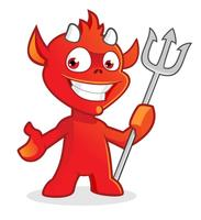 Personagem de desenho animado bonito diabo vetor