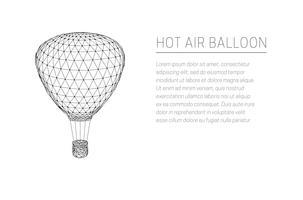 Balão de ar quente a voar. Design de baixo poli. vetor