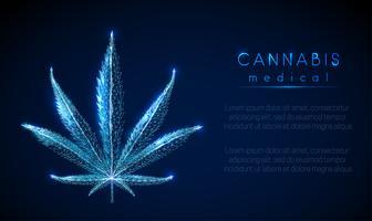 Cannabis medicinal. Folha de maconha. Design de estilo baixo poli.