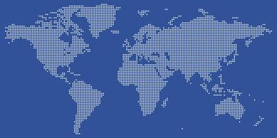 Vetor de mapa mundo pontilhado branco e azul