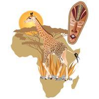 Vetorial, ilustração, de, áfrica, vida selvagem