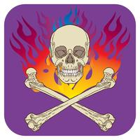 Ilustração em vetor cor crânio chama ícone roxo