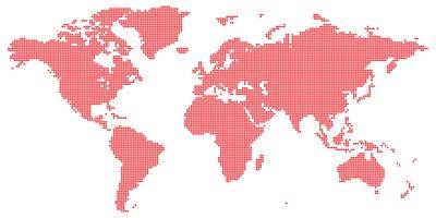 Vetor de mapa mundo com redondos coloridos vermelhos pontilhada