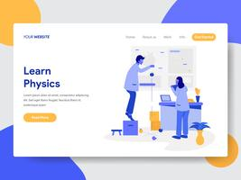 O modelo da página da aterrissagem de aprende o conceito da ilustração da física. Conceito moderno design plano de design de página da web para o site e site móvel.