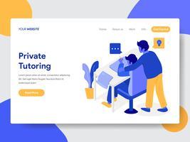 Molde da página da aterrissagem do conceito privado da ilustração do tutoria. Conceito moderno design plano de design de página da web para o site e site móvel.