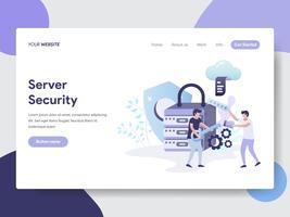 Molde da página da aterrissagem do conceito da ilustração da segurança do servidor. Conceito moderno design plano de design de página da web para o site e site móvel.
