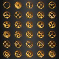 Conjunto de engrenagens dourado vetor