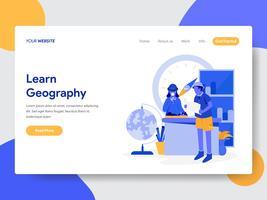 O modelo da página da aterrissagem de aprende o conceito da ilustração da geografia. Conceito moderno design plano de design de página da web para o site e site móvel. vetor