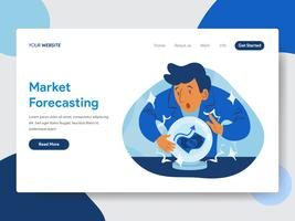 Molde da página da aterrissagem da previsão do mercado com Crystal Ball Illustration Concept. Conceito moderno design plano de design de página da web para o site e site móvel.