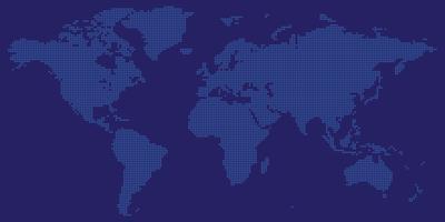 Vetor de mapa mundo com rodada de cor azul pontilhada