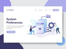Modelo de página de aterrissagem de Preferências do sistema definindo o conceito de ilustração. Conceito moderno design plano de design de página da web para o site e site móvel.