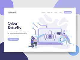 Molde da página da aterrissagem do conceito da ilustração da segurança do Cyber. Conceito moderno design plano de design de página da web para o site e site móvel.