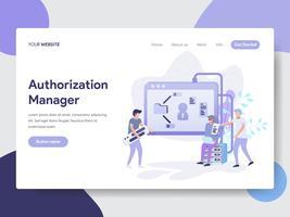 Molde da página da aterrissagem do conceito da ilustração do gestor da autorização. Conceito moderno design plano de design de página da web para o site e site móvel.