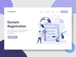 Molde da página da aterrissagem do conceito da ilustração do registro de domínio. Conceito moderno design plano de design de página da web para o site e site móvel. vetor