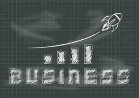 Crescimento de negócio de lousa quadro com gráfico e ilustração em vetor foguete subindo