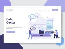 Molde da página da aterrissagem do conceito da ilustração do centro de dados. Conceito moderno design plano de design de página da web para o site e site móvel.