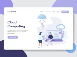 Modelo de página de aterrissagem do conceito de ilustração de computação em nuvem. Conceito moderno design plano de design de página da web para o site e site móvel.