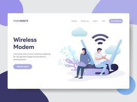 Modelo de página de aterrissagem do conceito de ilustração de modem sem fio. Conceito moderno design plano de design de página da web para o site e site móvel.