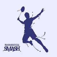 silhueta de respingo de quebra de badminton vetor
