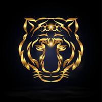 Tigre de ouro abstrato vetor