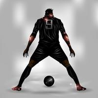 Jogador de futebol pronto para atirar vetor