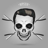 barbeiro de caveira hipster vetor