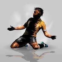 jogador de futebol marcando gol vetor
