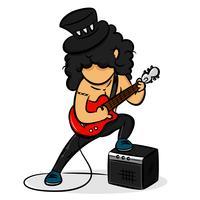 Rocker de guitarrista dos desenhos animados vetor