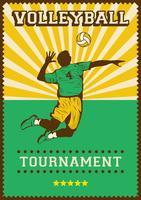 Volley Ball Voleibol Esporte Retro Pop Art Poster Sinalização vetor