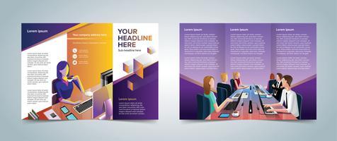 Modelo de Brochura - três dobras vetor