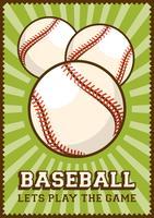 Signage retro do cartaz do pop art do esporte do basebol vetor