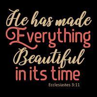 Ele fez tudo bonito em seu tempo vetor