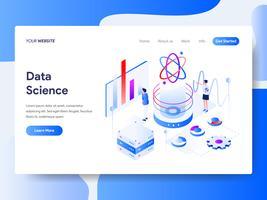 Molde da página da aterrissagem do conceito isométrico da ilustração da ciência dos dados. Conceito de design plano isométrico de design de página da web para o site e site móvel.