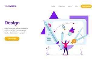 Modelo de página de aterrissagem do conceito de ilustração Design. Conceito moderno design plano de design de página da web para o site e site móvel. vetor