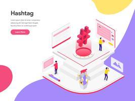 Molde da página da aterrissagem do conceito isométrico da ilustração de Hashtags dos meios sociais. Conceito de design plano isométrico de design de página da web para o site e site móvel.