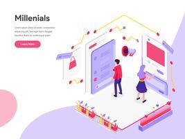 Molde da página da aterrissagem dos Millennials e do conceito isométrico da ilustração dos meios sociais. Conceito de design plano isométrico de design de página da web para o site e site móvel.