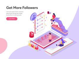 Modelo de página de destino de obter mais seguidores ilustração isométrica conceito. Conceito de design plano isométrico de design de página da web para o site e site móvel.