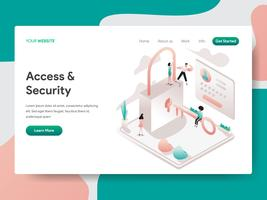 Modelo de página de aterrissagem de acesso e conceito de ilustração de segurança. Conceito de design isométrico do design de página da web para o site e site móvel.