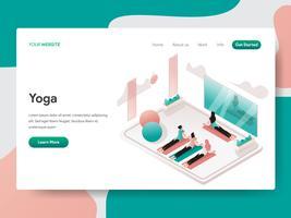 Molde da página da aterrissagem do conceito da ilustração da sala da ioga e da meditação. Conceito de design isométrico do design de página da web para o site e site móvel.