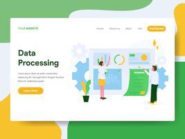 Molde da página da aterrissagem do conceito da ilustração do processo de dados. Conceito de design moderno plano de design de página da web para o site e site móvel.