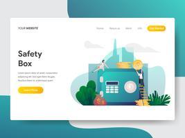 Molde da página da aterrissagem do conceito da ilustração da caixa de segurança. Conceito moderno design plano de design de página da web para o site e site móvel.