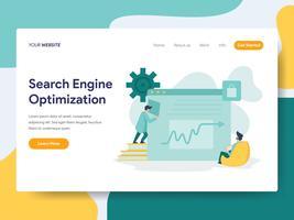 Modelo da página da aterrissagem do conceito da ilustração da otimização do Search Engine. Conceito moderno design plano de design de página da web para o site e site móvel.